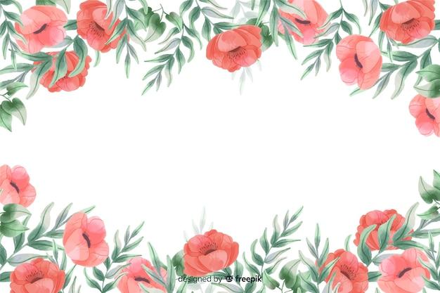 Rode bloemenframe achtergrond met waterverfontwerp Gratis Vector