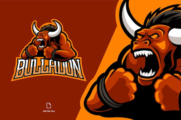 Rode boze stier mascotte sport game logo illustratie team Premium Vector