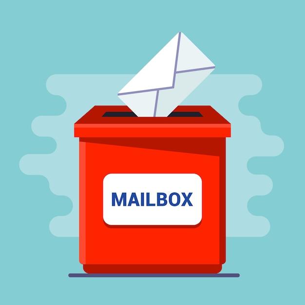 Rode brievenbus met een sleuf. laat de brief in de envelop los. illustratie Premium Vector