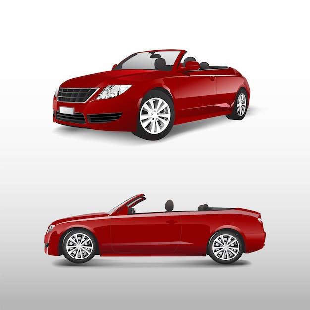 Rode convertibele auto die op witte vector wordt geïsoleerd Gratis Vector