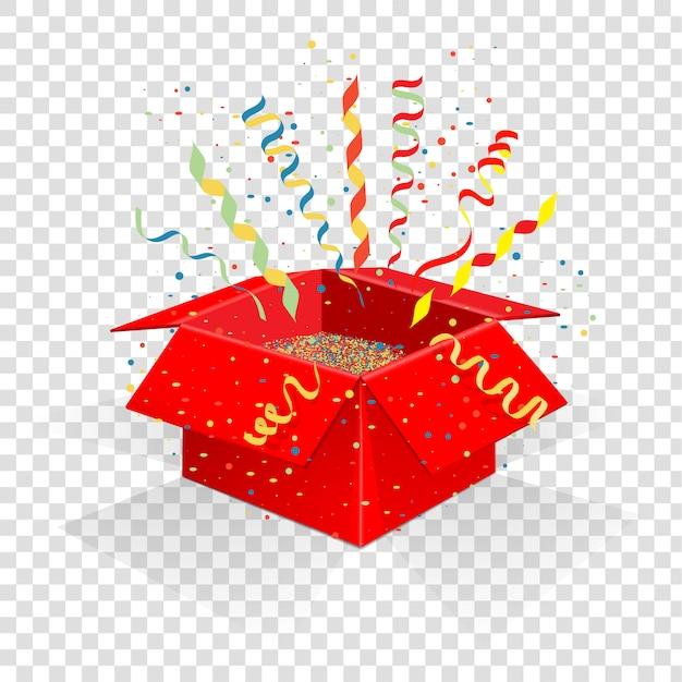 Rode doos met serpentijn en confetti. Premium Vector