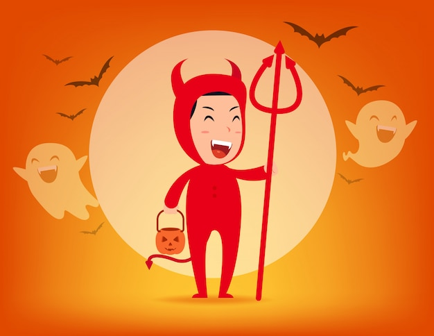 Rode duivel. halloween kostuum concept Premium Vector