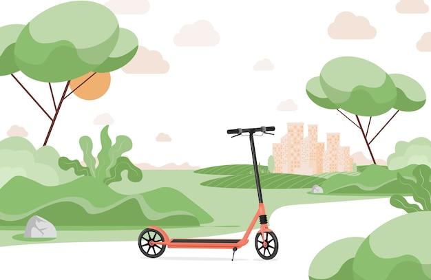 Rode elektrische scooter in stadspark vlakke afbeelding. scooter, modern persoonlijk vervoer in een stadspark. Premium Vector