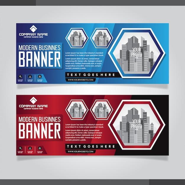 Rode en blauwe abstracte banner ontwerpsjablonen Premium Vector