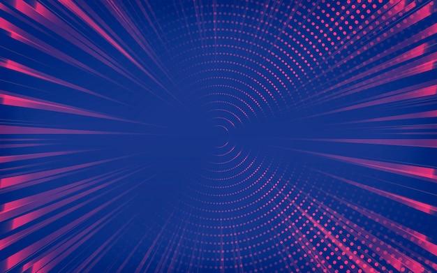 Rode en blauwe abstracte halftoon bezaaid achtergrond Gratis Vector
