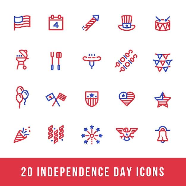 Rode en blauwe amerikaanse independence day pictogrammen lijn Premium Vector
