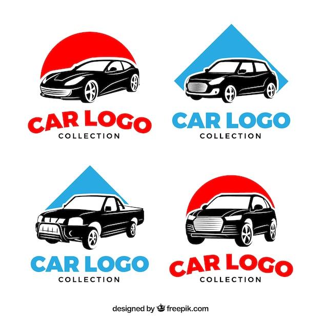 Rode en blauwe auto logo set Premium Vector