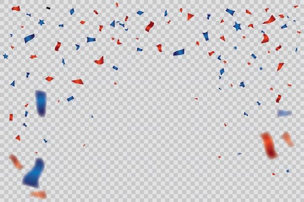 Rode en blauwe confetti-sjabloon Premium Vector