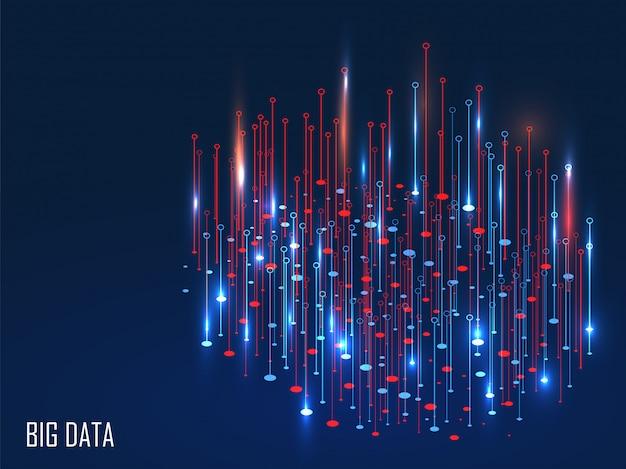 Rode en blauwe glanzende magische lichten op achtergrond voor big data-concept. Premium Vector