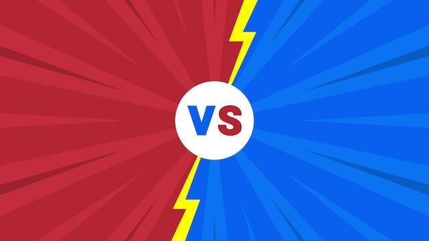 Rode en blauwe komische stijl versus brievenachtergrond Premium Vector