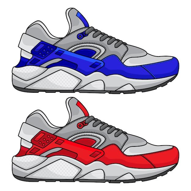 Rode en blauwe sportschoenen Premium Vector