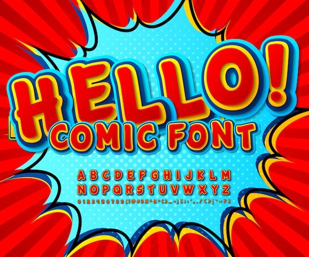 Rode en blauwe strips lettertype. cartooneske grappige alfabet in pop-artstijl Premium Vector