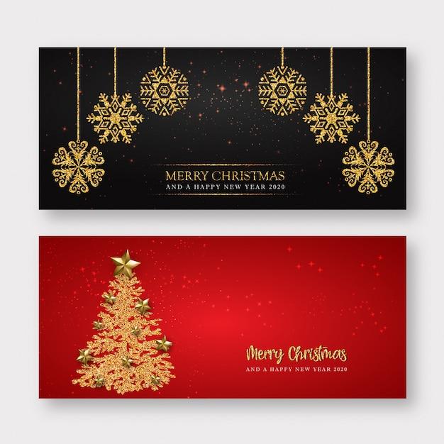 Rode en gouden merry christmas banner achtergrond Premium Vector