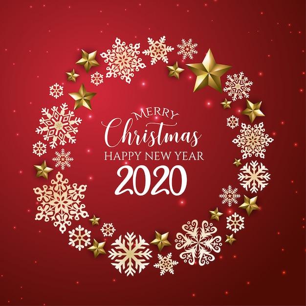 Rode en gouden prettige kerstdagen en gelukkig nieuwjaar 2020 wenskaart Premium Vector