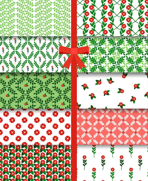 Rode en groene bloemen en takken eenvoudig naadloze patroon set. Gratis Vector