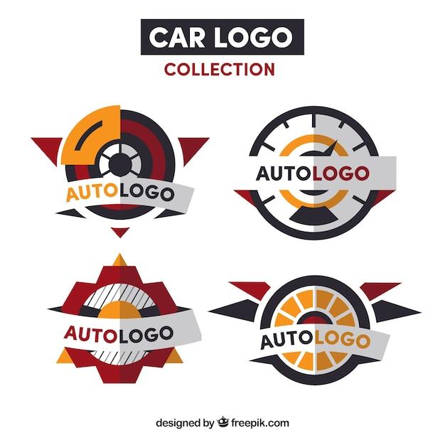 Rode en oranje auto logo collectie Gratis Vector