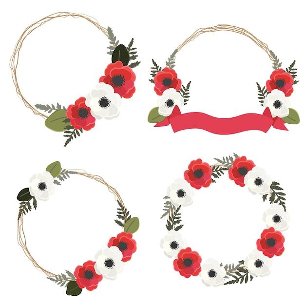 Rode en witte anemoon of papaver bloem krans frame collectie stijl geïsoleerd op een witte achtergrond Premium Vector