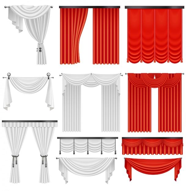 Rode en witte fluwelen zijden gordijnen en draperieën. interieur realistisch luxe scharlaken gordijnen decoratie ontwerp Premium Vector