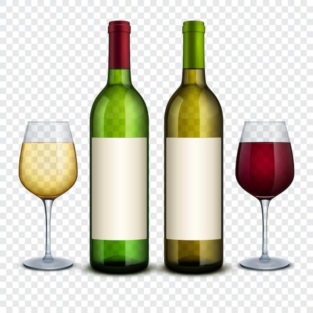 Rode en witte wijn in flessen en wijnglazen vectormodel. rode wijnfles en alcoholproductendrank en wijnglas Premium Vector