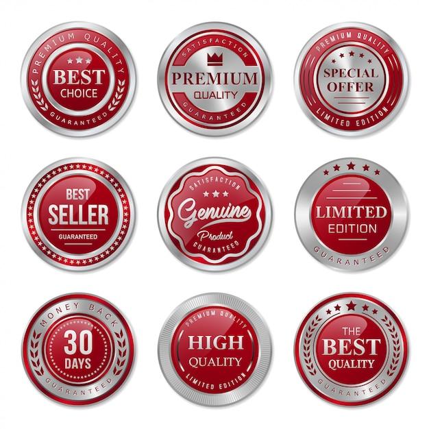 Rode en zilveren metalen badges en labels-collectie Premium Vector