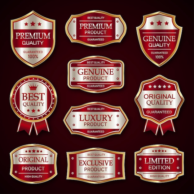 Rode en zilveren premium vintage badge en labels-collectie Premium Vector