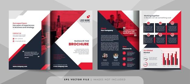 Rode en zwarte zakelijke tweevoudige brochure sjabloon. Premium Vector