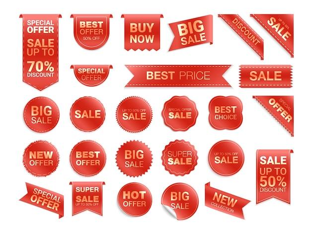 Rode etiketten geïsoleerd. kortingspromotie. platte badges korting en tags. Premium Vector