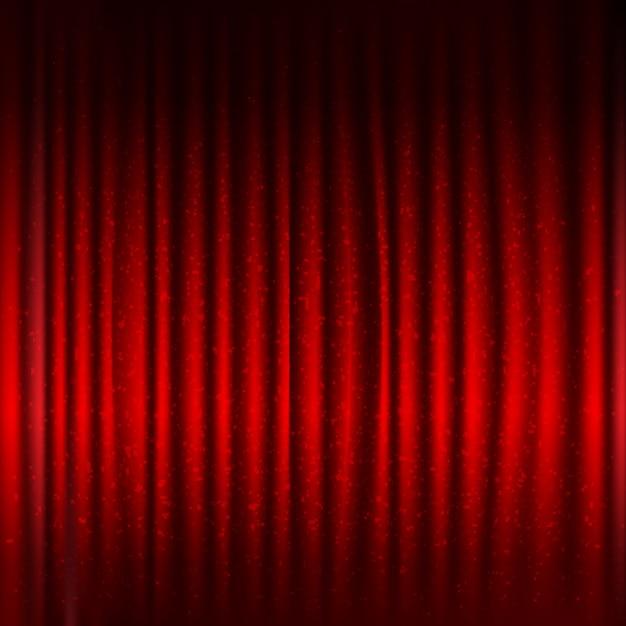 Rode fase gordijn met zwarte rand en glitter met verloopnet, illustratie Premium Vector