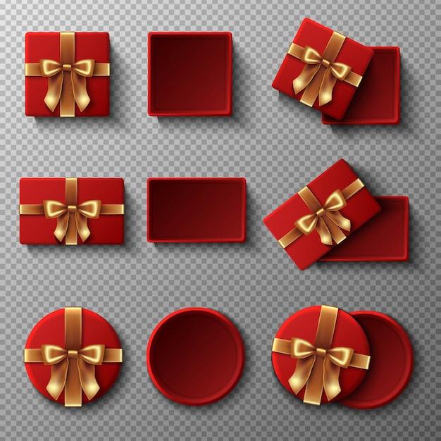 Rode geschenkdoos met gouden lint set Premium Vector