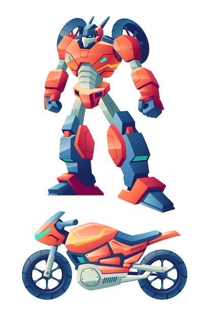 Rode gevechtsrobot geschikt om in het rennen van motorfiets, sportfietsbeeldverhaal te transformeren Gratis Vector