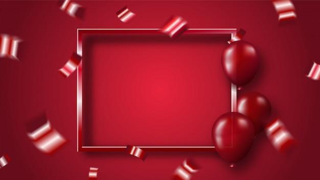 Rode glanzende confetti en ballonnen met frame op rode achtergrond Premium Vector