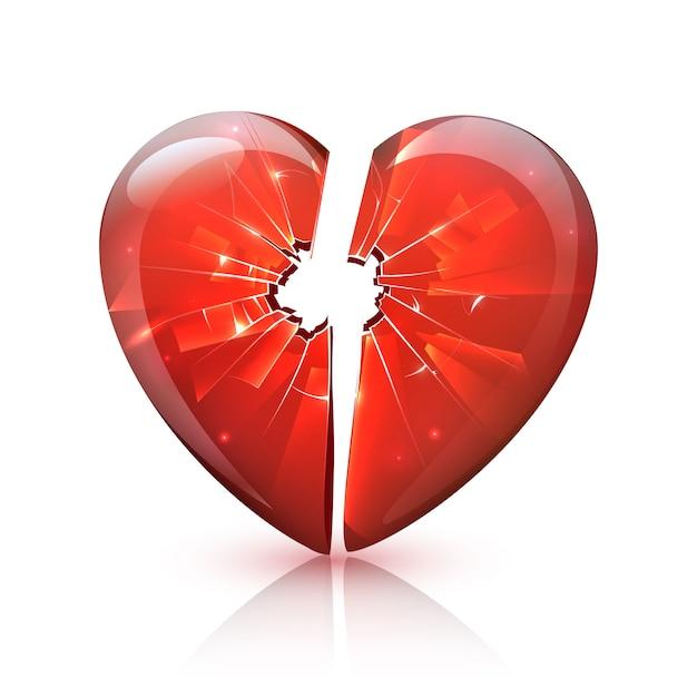 Rode glanzende gebroken glas hart pictogram Gratis Vector