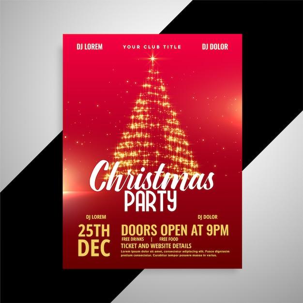Rode glanzende kerstfeest poster ontwerpsjabloon Gratis Vector