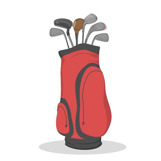 Rode golftas voor clubs. sport spel Premium Vector