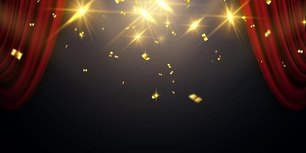 Rode gordijn achtergrond. groot openingsevenementontwerp. confetti gouden linten. Premium Vector