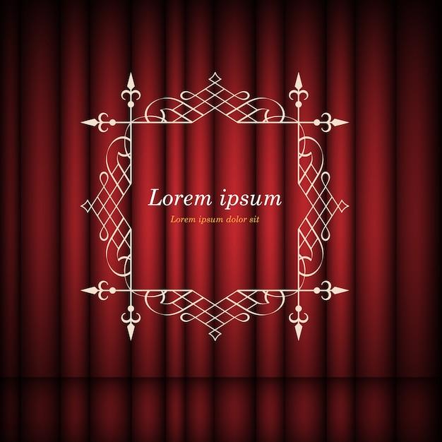 Rode gordijnen en vintage frame met kopie ruimte voor tekst Premium Vector