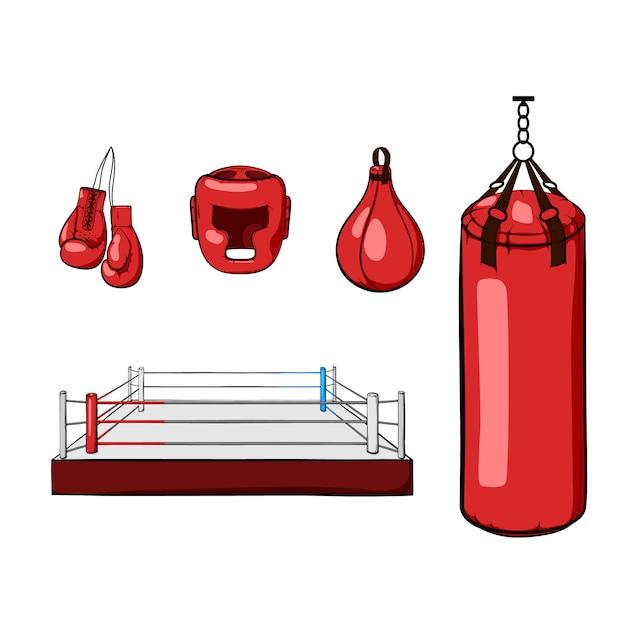 Rode hand getekende boksuitrusting. bokshandschoenen, helm, bokszak, boksring en boksbal. Premium Vector