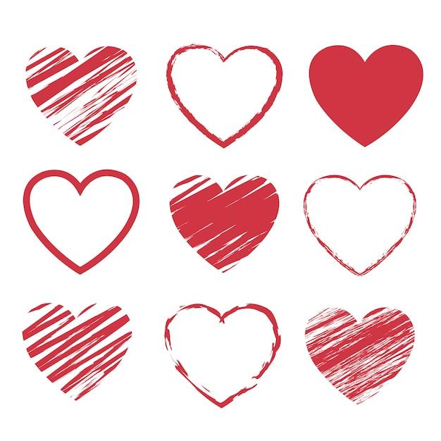 Rode harten symbool set geïsoleerd witte achtergrond Premium Vector