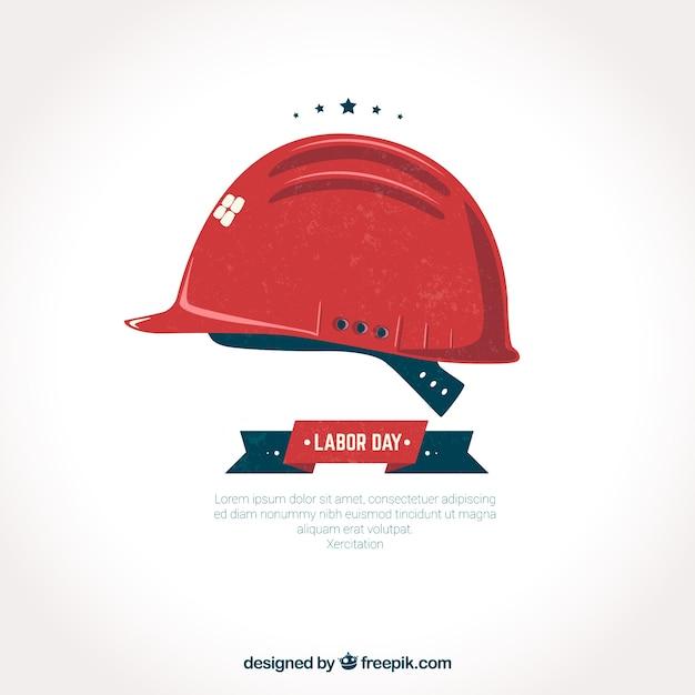 Rode helm arbeid dag achtergrond Gratis Vector