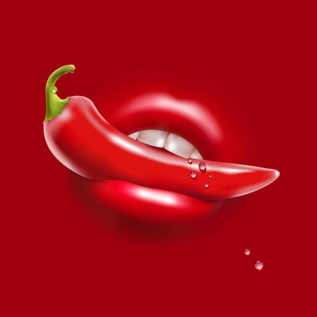 Rode hete peper in de vrouw sexy mond en waterdruppels Premium Vector