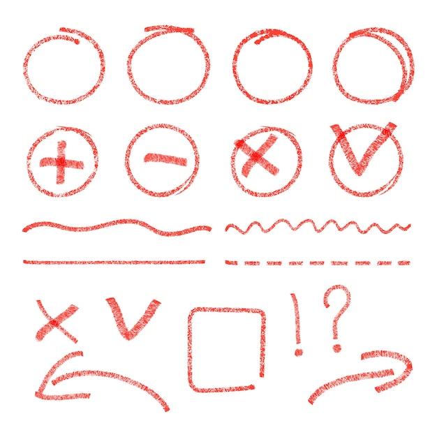 Rode hoogtepuntelementen. cirkels, pijlen, vinkjes en kruistekens. Gratis Vector