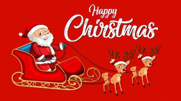 Rode kerst gelukkig sjabloon Gratis Vector