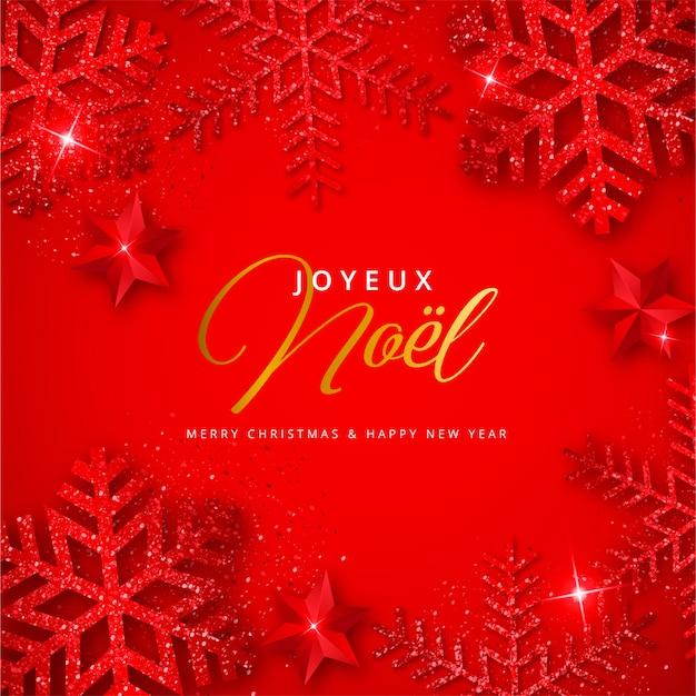 Rode kerstmisachtergrond met glanzende sneeuwvlokken joyeux noel Gratis Vector