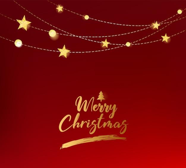 Rode kerstmisachtergrond met gouden Premium Vector