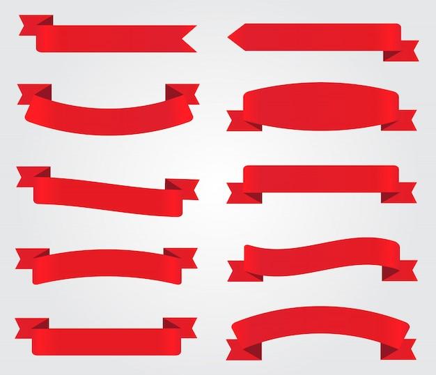 Rode linten instellen Premium Vector
