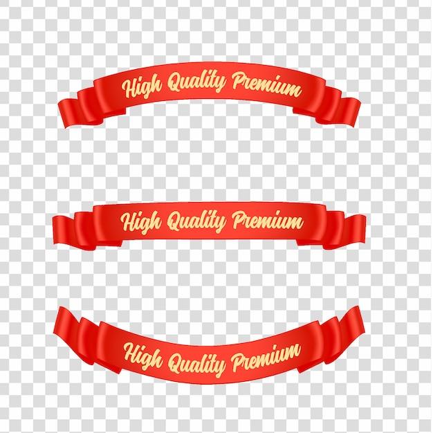 Rode linten tags instellen Premium Vector