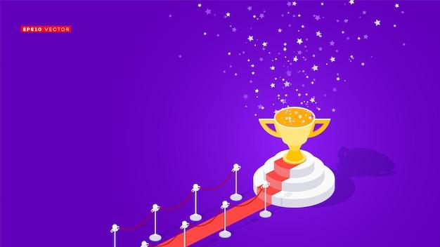 Rode loper naar winnaarspodium. conceptuele isometrische illustratie Premium Vector