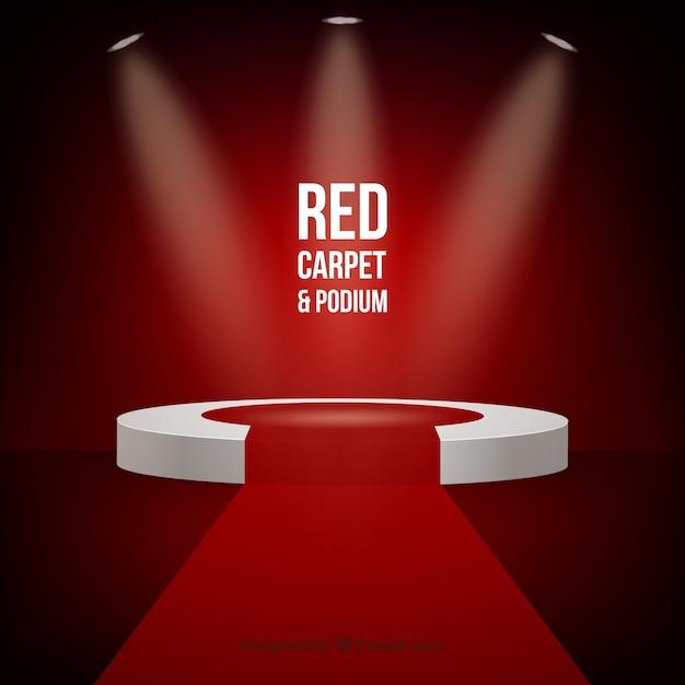 Rode loperachtergrond in realistische stijl Gratis Vector