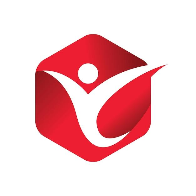 Rode mensen geven vector logo sjabloon Premium Vector