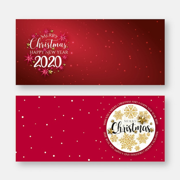 Rode merry christmas banner achtergrond Premium Vector
